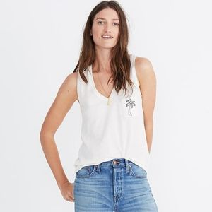 MADEWELL Embroided Palm Whisper Cotton V-Neck Tank